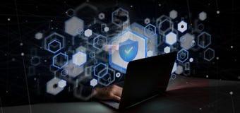 Hacker-Mann, der eine Wiedergabe des Vorhängeschlossnetzsicherheitskonzeptes 3d hält Lizenzfreies Stockbild