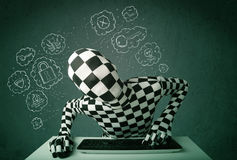 Hacker in mask morphsuit with virus and hacking thoughts Royalty Free Stock Image