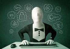 Hacker in mask morphsuit with virus and hacking thoughts Stock Images