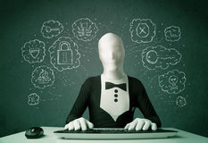 Hacker in mask morphsuit with virus and hacking thoughts Stock Photo