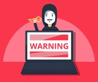 Hacker in mask stealing information on laptop. Flat style  illustration. Hacking phishing attack. Flat  illustration of young hacker hack protection system Stock Photo