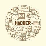 Hacker minimal thin line icons set Stock Photography