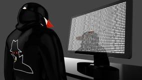 Hacker mit der schwarzen Mantel- und Baseballmützespionage Lizenzfreie Stockfotos