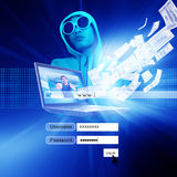 Hacker mit Logon-Schirm Stockfotografie