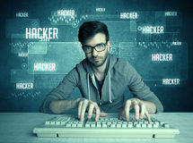 Hacker mit Tastatur und Gläsern Lizenzfreie Stockfotografie
