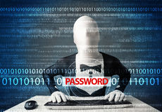 Hacker in morph 3d mask stealing password Royalty Free Stock Images