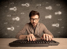 Hacker nerd guy with drawn password keys Royalty Free Stock Photo