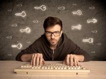 Hacker nerd guy with drawn password keys Royalty Free Stock Image