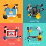 Hacker nimmt 2x2 Konzept des Entwurfes in Angriff Stockbilder