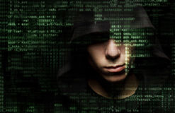 Hacker no trabalho imagem de stock