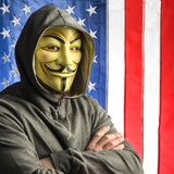Hacker and old glory Royalty Free Stock Photo