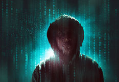 Hacker. Over a screen with binary code Royalty Free Stock Photos