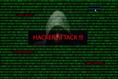 Hacker over a screen with binary code and warning messages Stock Image
