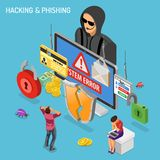 Hacker Phishing Activity Isometric Concept stock photos