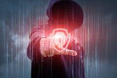 Hacker próby łamać w bezpiecznie system Obrazy Royalty Free