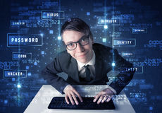 Hacker programing in technology enviroment with cyber icons Royalty Free Stock Photography