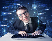 Hacker programing in technology enviroment with cyber icons Royalty Free Stock Photos