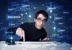 Hacker programing in technology enviroment with cyber icons Royalty Free Stock Images