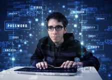 Hacker programing in technology enviroment with cyber icons Stock Photos