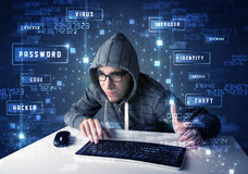 Hacker programing in technology enviroment with cyber icons Stock Photo