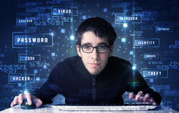 Hacker programing in technology enviroment with cyber icons Royalty Free Stock Image