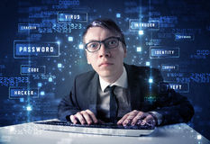 Hacker programing in technology enviroment with cyber icons Stock Images