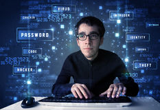 Hacker programing in technology enviroment with cyber icons Stock Photography