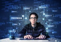 Hacker programing in technology enviroment with cyber icons. And symbols Royalty Free Stock Photos