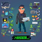 Hacker or programmer character design with icon set come with typographic for header design -  illustration Stock Images
