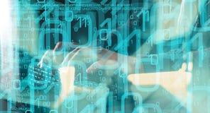 Hacker programming, computer language code and binary data stock photo