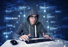 Hacker programuje w technologii środowisku z cyber ikonami zdjęcie royalty free