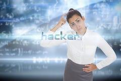 Hacker przeciw matematyki równania tłu Fotografia Royalty Free