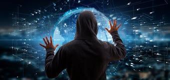 Hacker que ativa o globo da terra dos dados da rendição 3d ilustração do vetor