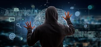 Hacker que ativa um 3d que rende o conceito da inteligência artificial fotos de stock