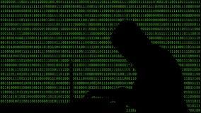 Hacker que datilografa em um portátil com 01 ou em números binários no tela de computador na matriz do fundo do monitor, código d ilustração stock
