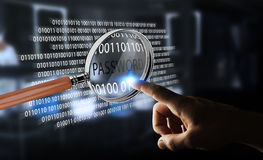 Hacker que usa a lupa digital para encontrar a senha 3D para render Fotografia de Stock
