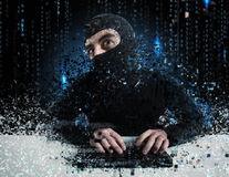Hacker reading personal information. Concept of privacy and security royalty free stock photo