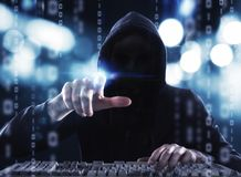 Hacker reading personal information. Concept of privacy and security royalty free stock photos