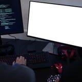 Hacker sieka cyfrowanie cyberprzestrzeni informację Zdjęcia Royalty Free