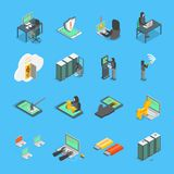 Hacker Signs 3d Icons Set Isometric View. Vector. Hacker Signs 3d Icons Set Isometric View on a Blue Include of Computer, Virus, Money, Spy and Mobile. Vector Stock Photography