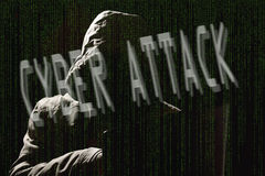 Cyber attack - hacker silhouette Royalty Free Stock Photo