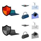 Hacker, sistema, conexão Hacker e corte de ícones ajustados da coleção nos desenhos animados, estoque monocromático do símbolo do Fotos de Stock Royalty Free