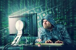 Hacker sitting at desk looking on computer screen. Hacker at desk looking at computer screen Stock Images