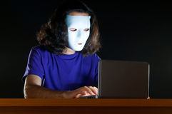 Hacker sitting in  room Stock Photos