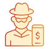 Hacker on smartphone flat icon. Mobile phone with thief orange icons in trendy flat style. Online robber gradient style. Design, designed for web and app. Eps royalty free illustration