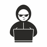Hacker. Someone who seeks and exploits weaknesses in a computer system or computer network vector illustration