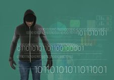 Hacker standing on in front of green background with digital numbers Royalty Free Stock Photography