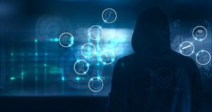 Hacker standing and prepare to attack with cyber crime icons on. World map and screen binary code background Royalty Free Stock Images