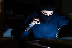 Hacker steal data from computer Stock Photo