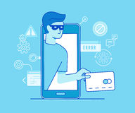 Hacker stealing credit card data Royalty Free Stock Photography